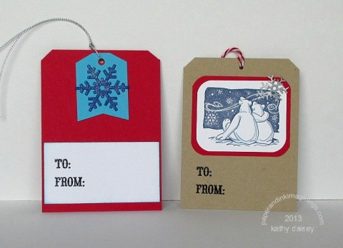 christmas tags snowflake and bears