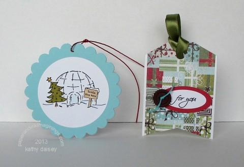 folded christmas tags