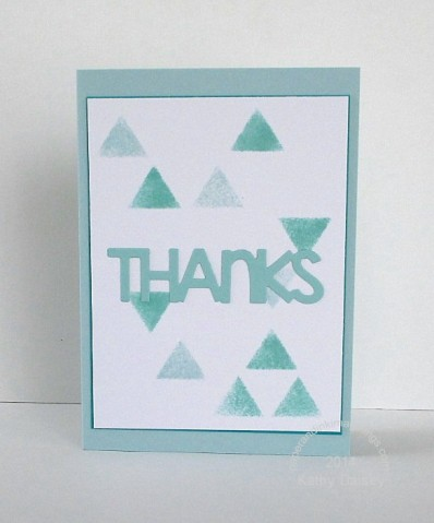 stenciled triangles thanks note