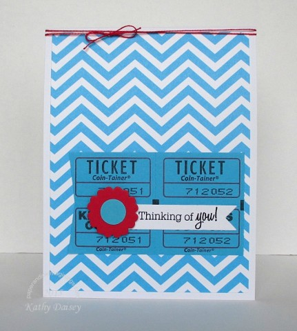 turquoise chevron ticket thinking of you