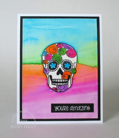 psychadelic watercolored sugar skull