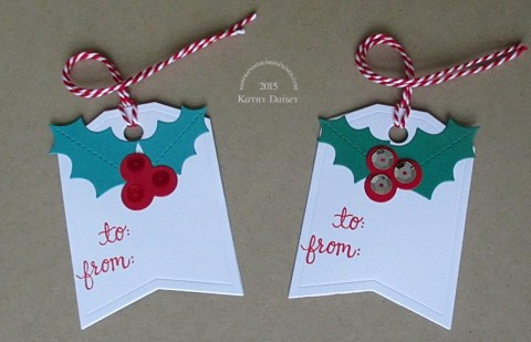 holly sequin Christmas tags