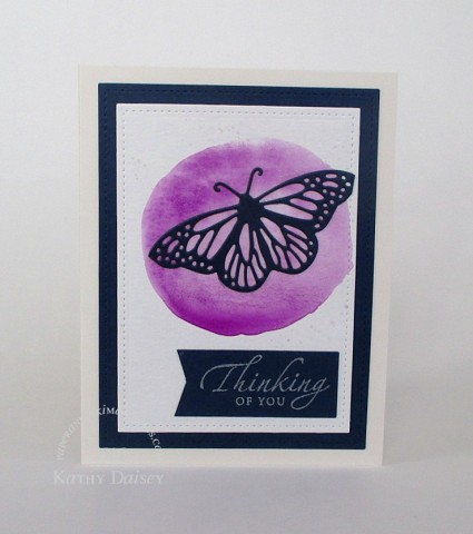 navy butterfly purple watercolor thinking of you