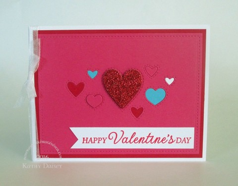 stitched heart collage pink turq red glitter