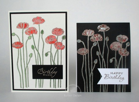 watercolored poppies pair