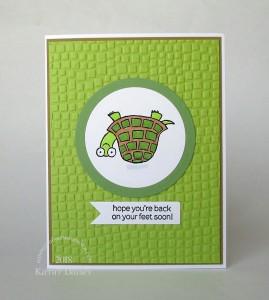 green turtle back on feet